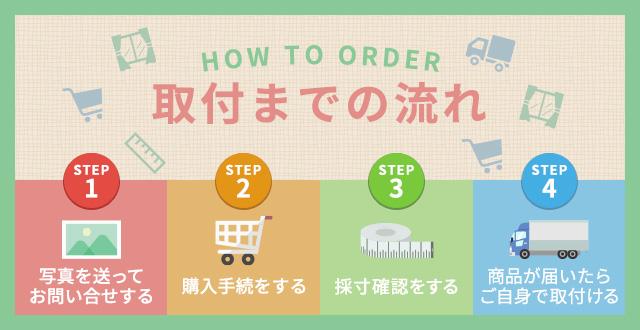 取引までの流れ STEP1 写真を送ってお問い合わせする STEP2購入手続をする STEP3採寸確認をする STEP4商品が届いたらご自身で取付ける